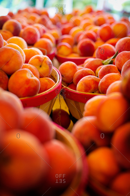 Ripe peaches packed in wooden barrels