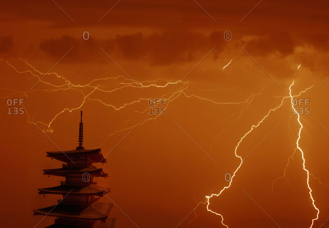 Landscape of Japanese pagoda in thunderstorm