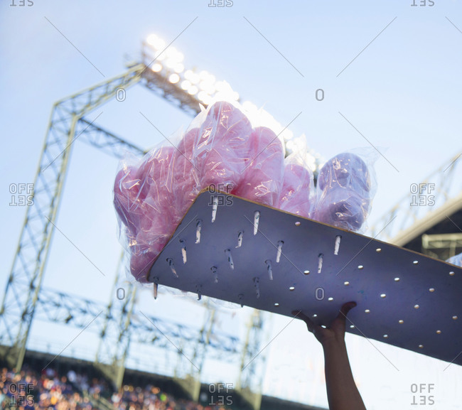 Low angle view of packed candy floss in Seattle baseball stadium