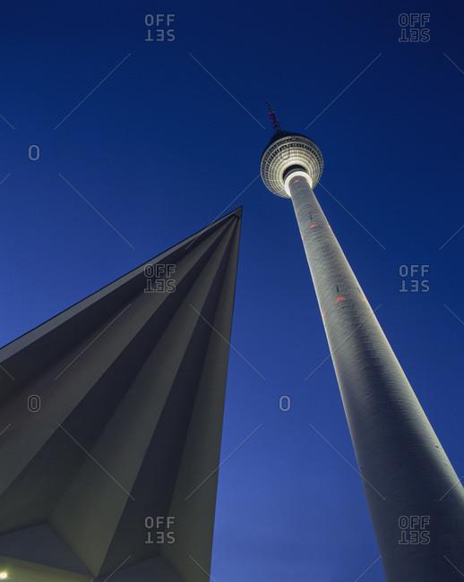 Germany, Berlin, Alexanderplatz,TV Tower night shot