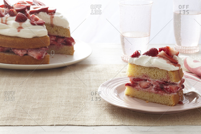 Classic strawberry shortcake with heavy cream topping.