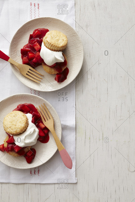 Top view of ginger strawberry shortcakes