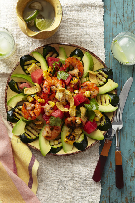 Top view of colorful shrimp taco salad.