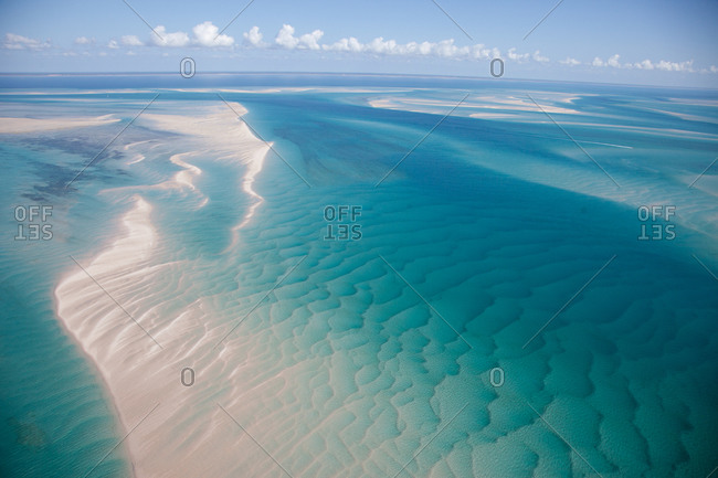 Aerial view of sand patterns in ocean, Mozambique