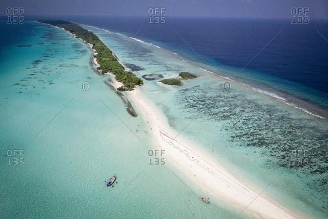 Sand collectors on Maldive Islands
