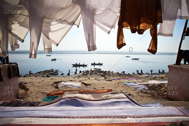 Laundry hanging to dry along Ganges River in Varanasi, India