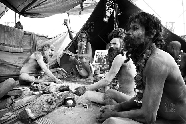 Holy men at Kumbh Mela Fesitval Haridwar, India