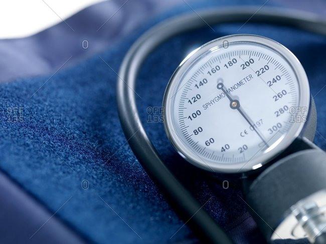 Close up view of blood pressure gauge apparatus
