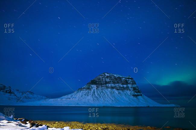 Mt Kirkjufell in Grundarfjordur bay, Iceland at a winter night