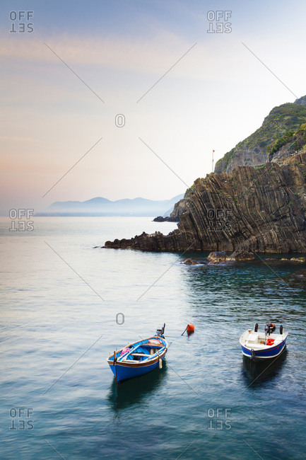 Fishing Boats in little Harbour of Riomaggiore at Dawn, Cinque Terre National Park, UNESCO World Heritage Site, Liguria, Italy