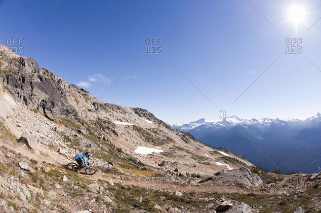 Extreme mountain biker, Whistler, BC, Canada