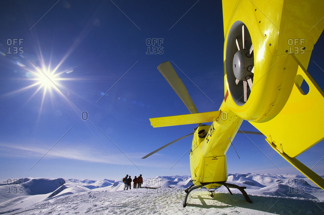 A helicopter on mountain peak,  Abisko,  Sweden