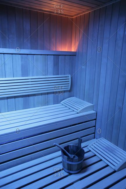 A sauna in blue light,  Sweden
