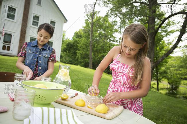 Two girls working together, making homemade lemonade