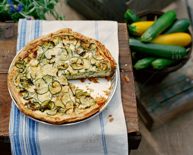 Zucchini tart served outdoors