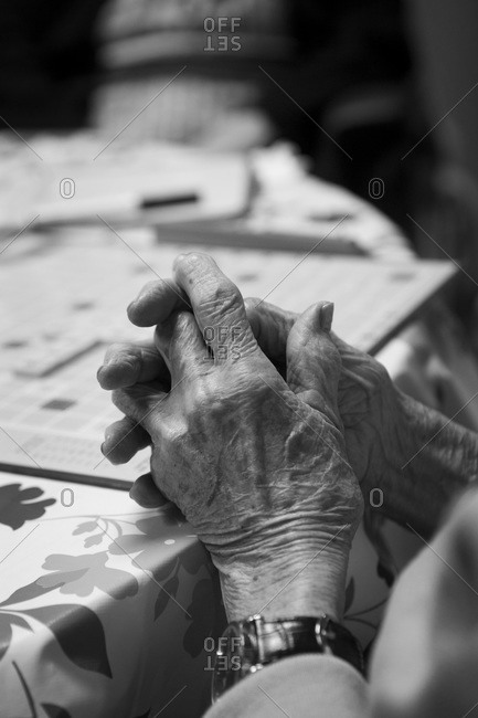 Close up of an elderly woman's hands