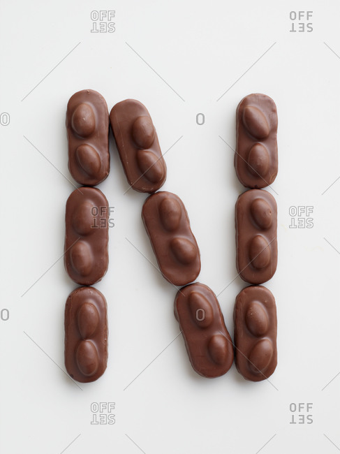 Small chocolate bars arranged in the shape of the letter N
