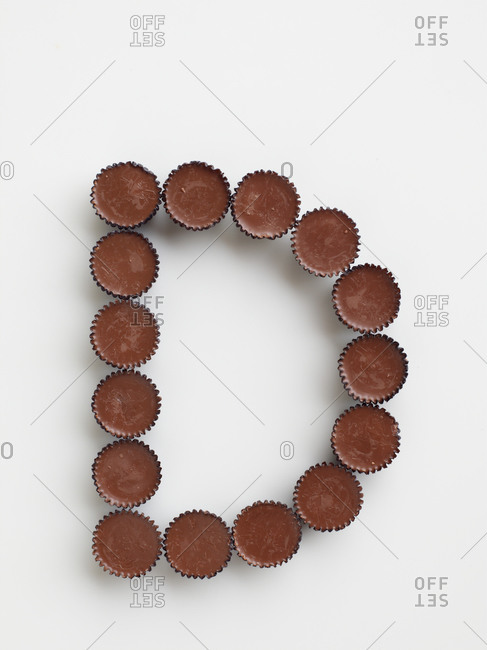 Chocolate arranged in the shape of the  letter D