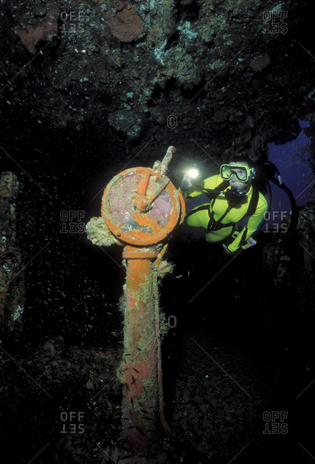 Ship's telegraph on the sunken Nippo Maru
