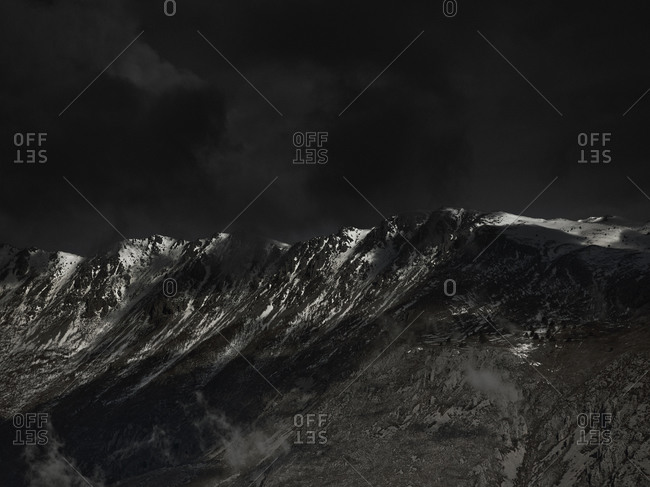 An ominous sky above a mountain range