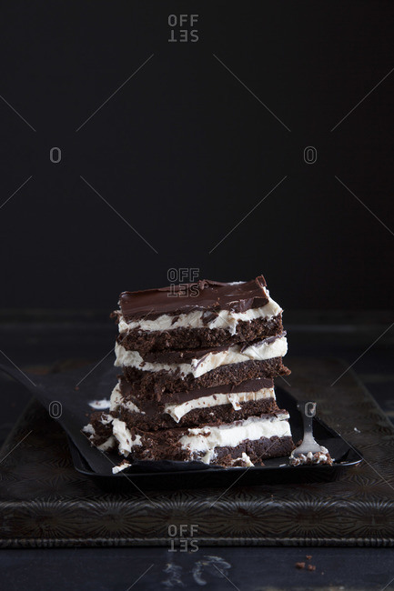 Nanaimo Bars filled with buttercream, topped with semisweet chocolate