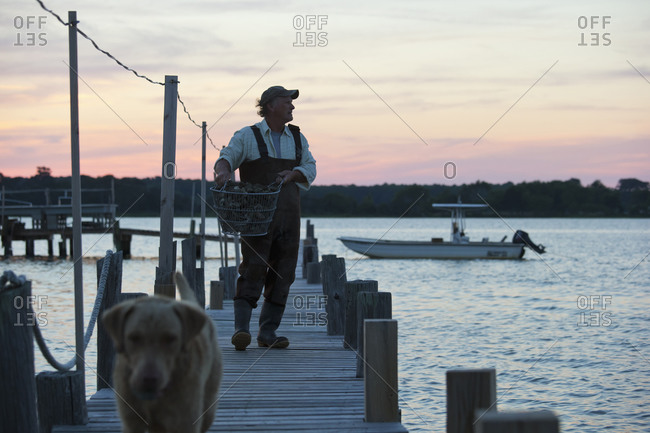 Fisherman carrying catch on wooden pier
