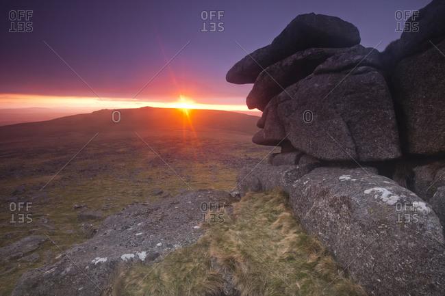Great Staple Tor sunset, Dartmoor, England