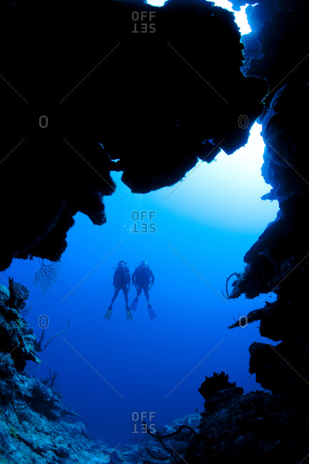 Scuba diving along North Wall, Grand Cayman-Dive site known as Mainstreet