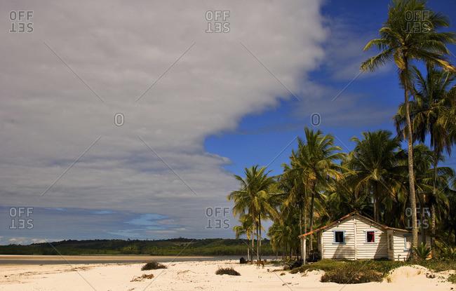 Lonely cottage on coastline