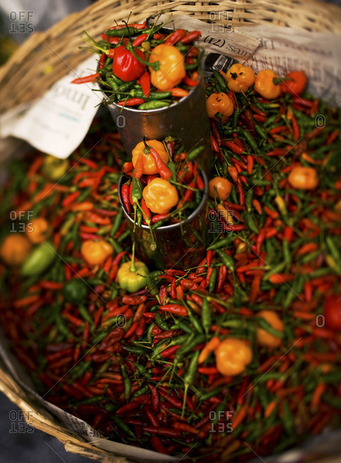 Close-up of Brazilian colorful peppers