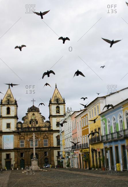 Beautiful church and colorful buildings in Salvador, Bahia