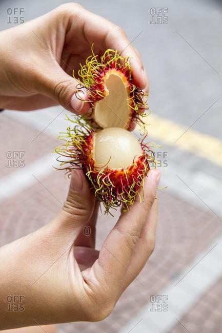 Woman opening rambutan fruit, close up