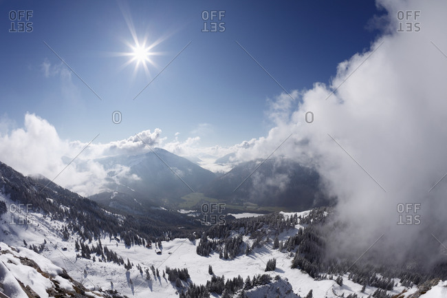 Upper Bavaria, View of Mangfallgebirge mountains