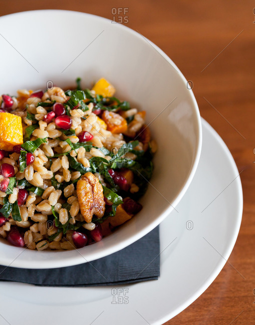 Farro Salad with candied pecans