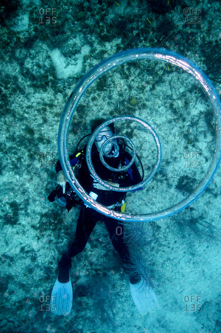 Scuba diver blowing bubbles