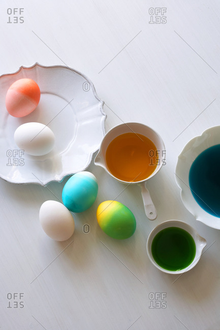 Colorful Easter eggs and dye