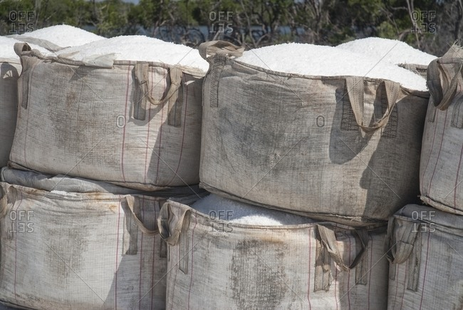 Close-up of harvested salt in sacks