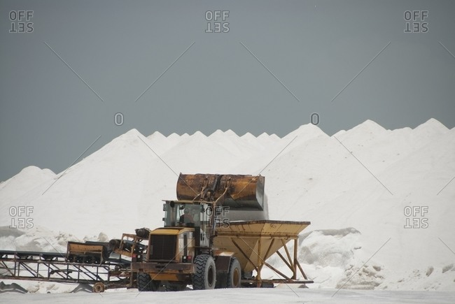 Truck working on salt field