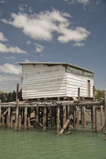 View of shack on wooded pier