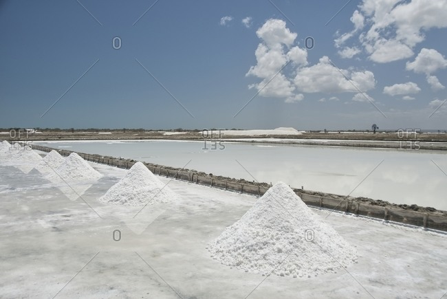 Pile of salt in the salt pan in Areia Branca