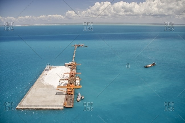 Aerial view of salt mine on the ocean