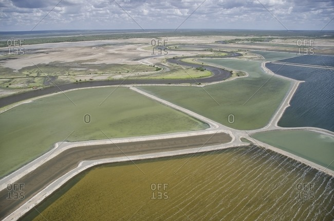 Aerial view of salt mine fields