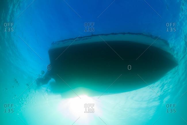 Underwater view of motor boat