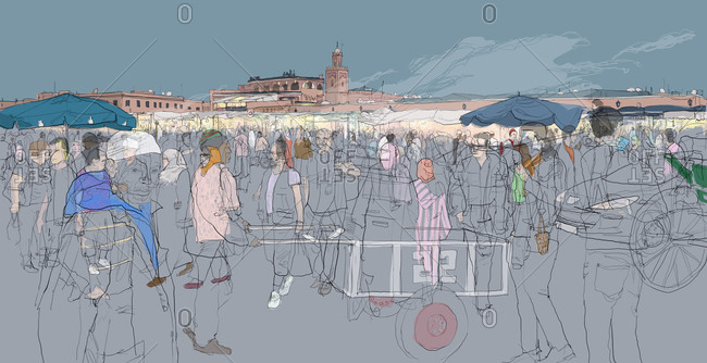 Crowds of local people and tourists moving through Jemaa el Fna Square