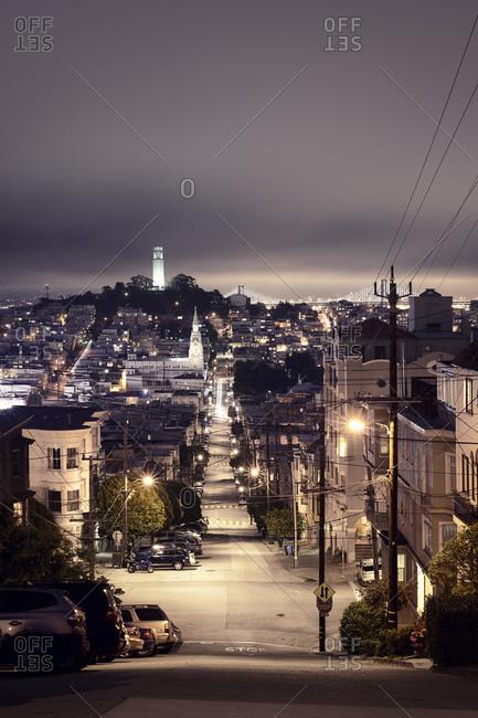 A view down Telegraph Hill in San Francisco