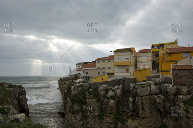 Houses over a cliff in Peniche. Portugal