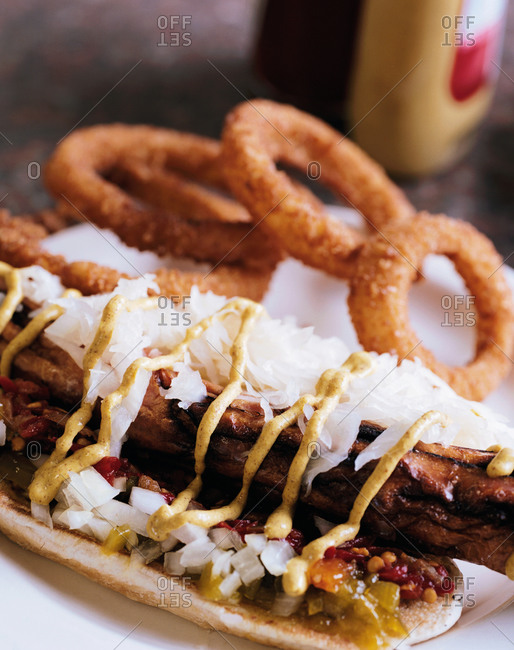Hot dog with onions rings