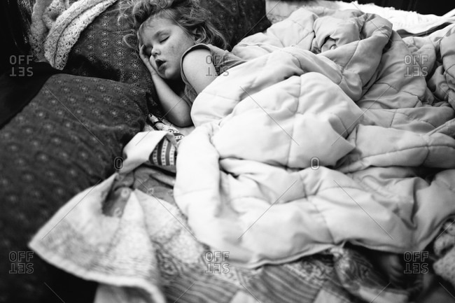 Close up of a little girl sleeping
