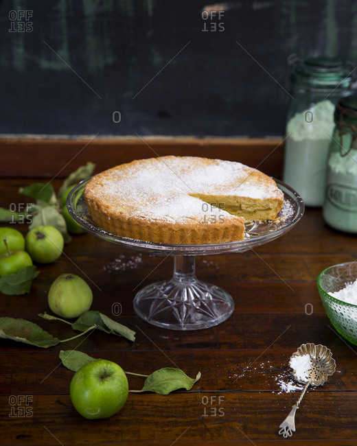 Composition with apple shortcake in home interior