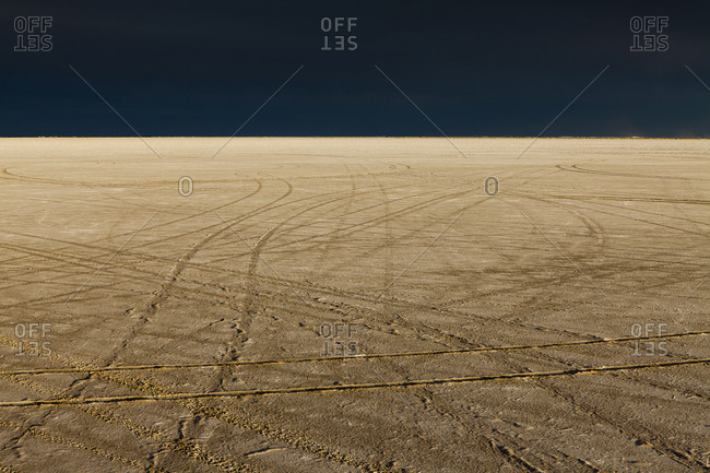 Tire tracks on the Bonneville Salt Flats